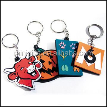 Personalized logo design soft pvc custom rubber keyring
