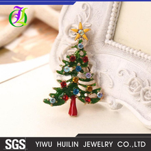 JTBR0035 Yiwu Huilin Jewelry New Product Creative Christmas tree star big diamond colorful fashion brooches for Christmas gift