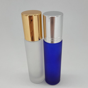 10ml colorful frosted glass roll on bottle essential oil perfume with aluminum cap and glass roller ball