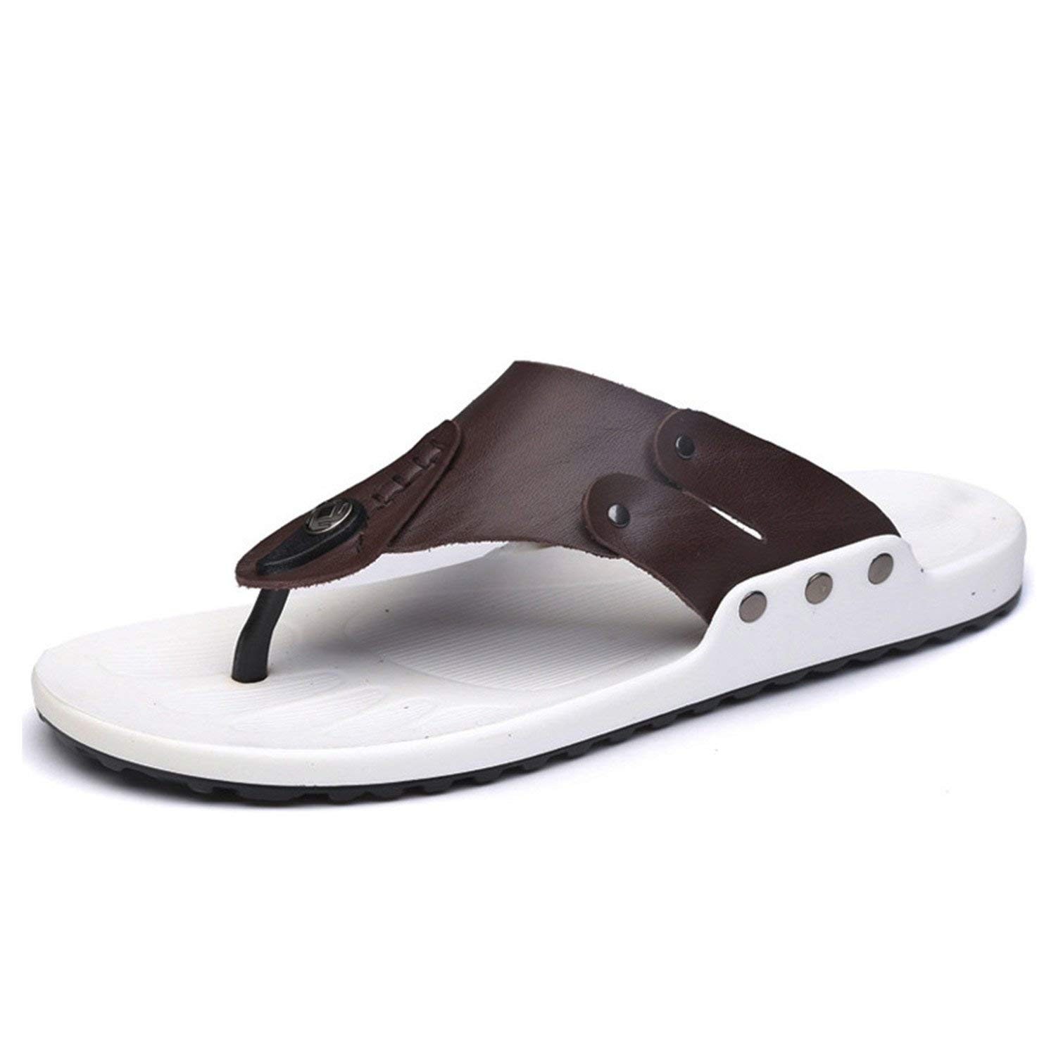 a4546f79ac110 Get Quotations · Phillip Dudley Genuine Leather Men Slippers Flip Flops  Casual Male Beach Slippers Flip Flop