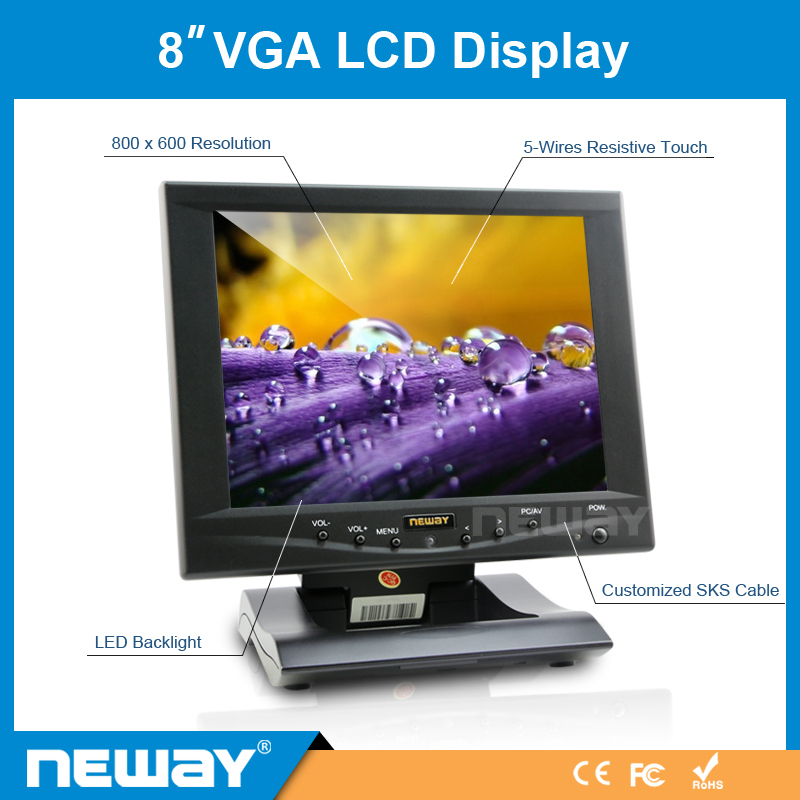 8 inch high resolution lcd touch screen gaming monitor with vag input