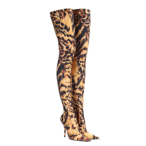 WETKISS Sexy Pointed Toe Over Knee Boots Slip On Stiletto Heel High Stretch Boots Leopard Women Shoes Tiger  Thigh High Boots