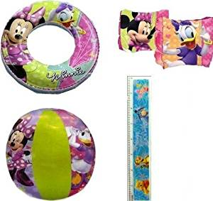 "4-piece Minnie Mouse Pool Toy Swim Set: Disney Minnie Mouse Cartoon Characters Beach Ball (16""), Minnie Mouse Swim Ring (20""), Minnie Mouse Arm Floaties (Swimwear Floats), and Disney Winnie the Pooh Ruler - Minnie Mouse Party Supplies for Girls and Party Favors for Girls, Pool Party Floatation"