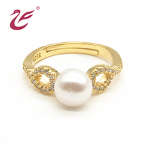 New design customized jewelry 925 italian silver Gold plated diamond engagement pearl wedding ring diamond engagement ring
