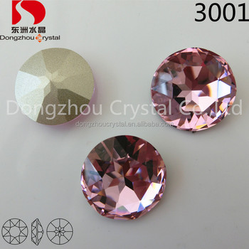 Point back round crystal fancy glass stone for hair decoration jewelry