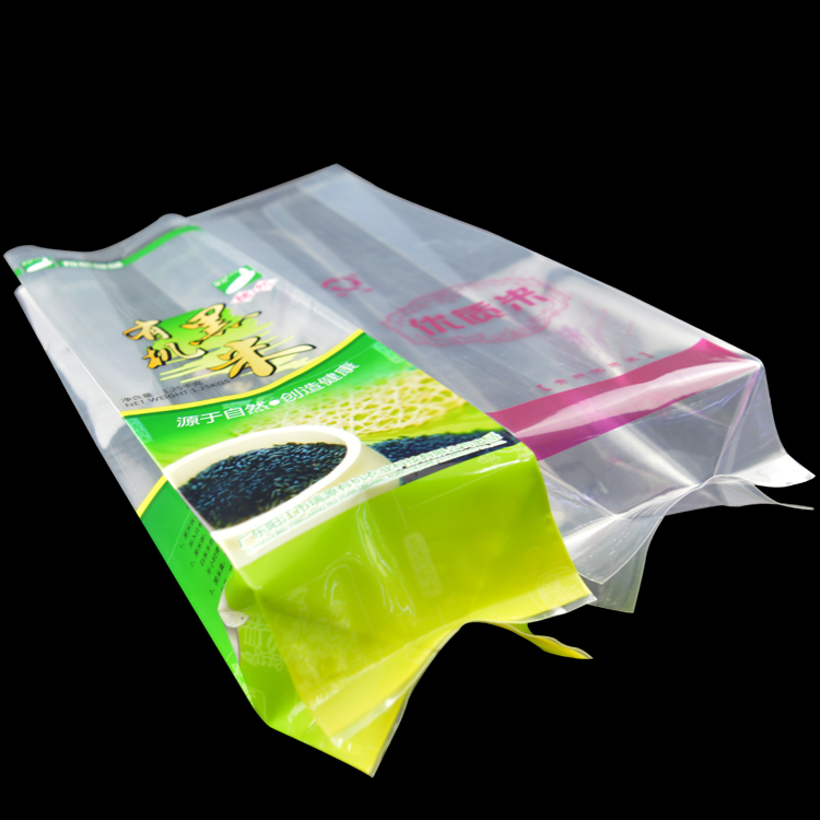 Factory clear plastic resealable bags rice packaging