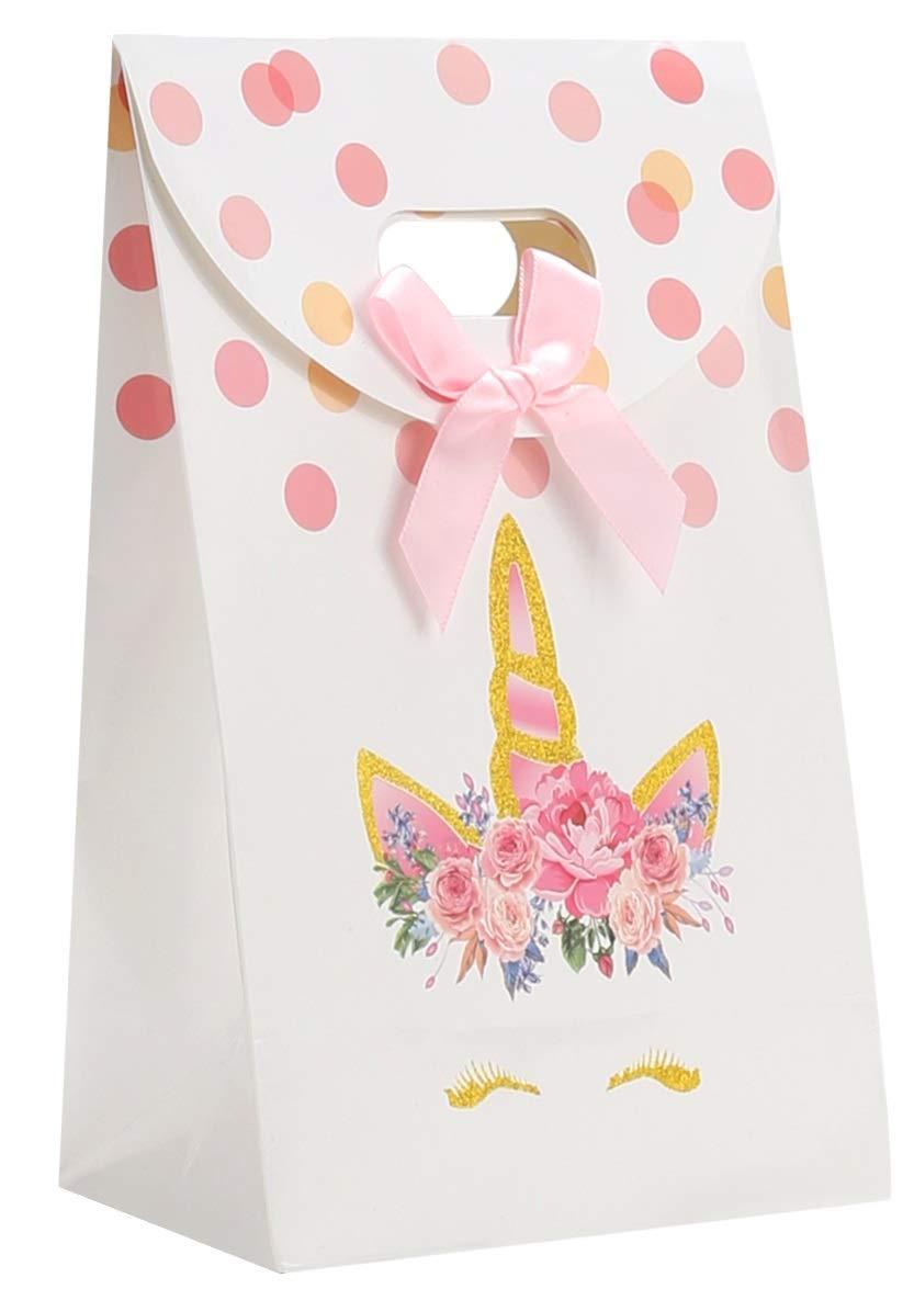 Ocosy 12Pcs Glitter Unicorn Party Favor Treat Bags, Goddie Candy Bags, Unicorn Paper Gift Bags, Unicorn Party Supplies (12Pk)