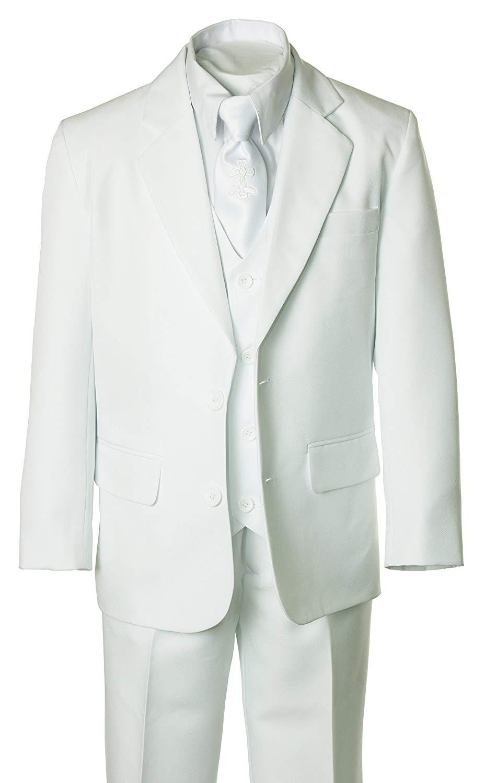 Tuxgear Boys Slim Fit Five Piece Burgundy Suit with Zipper Neck Tie and Vest