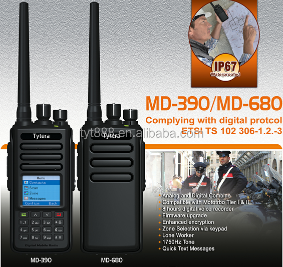 TYT DMR IP67 waterproofed gps digital radio MD-390+8 hours digital voice recorder+DTMF+enhanced encryption