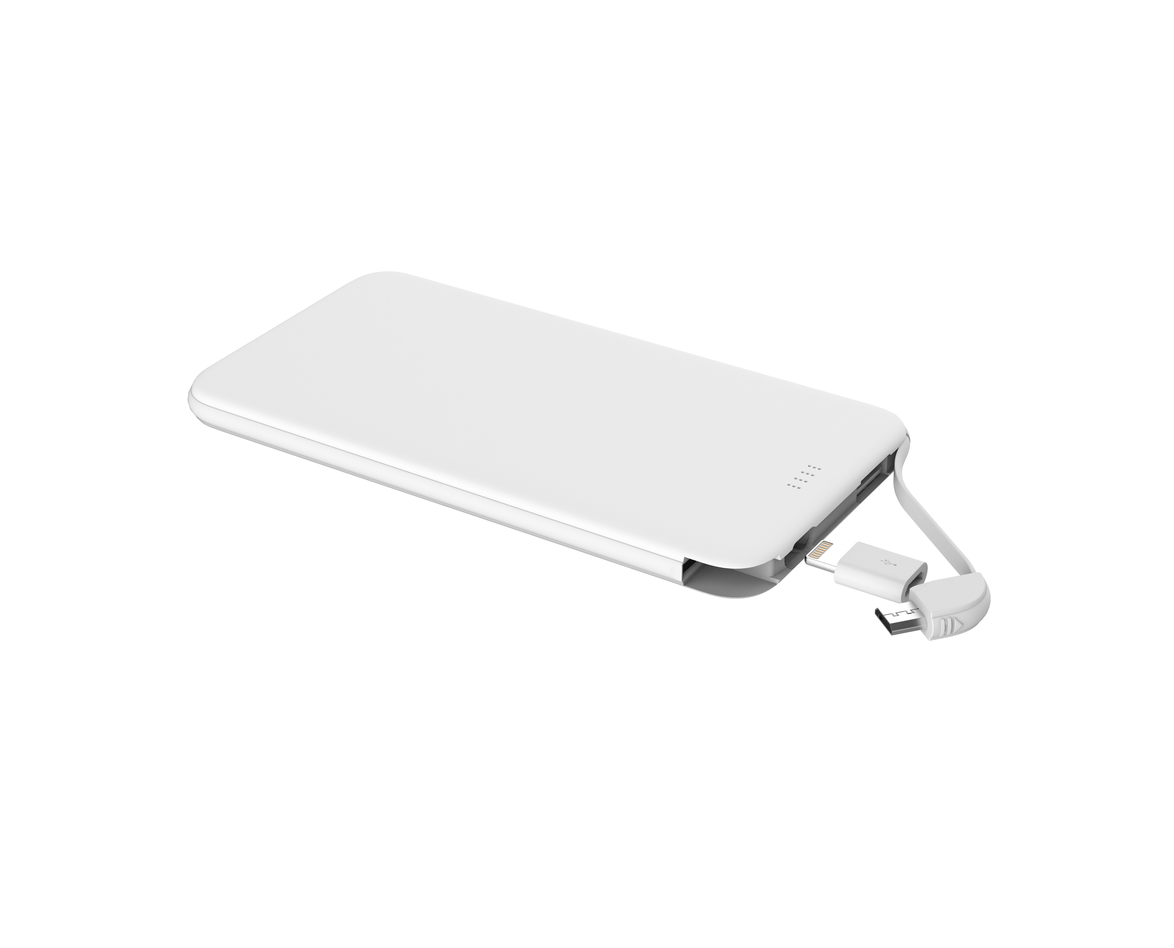 Ultra Thin mobile Power Bank 5000mah with Built In USB Cable