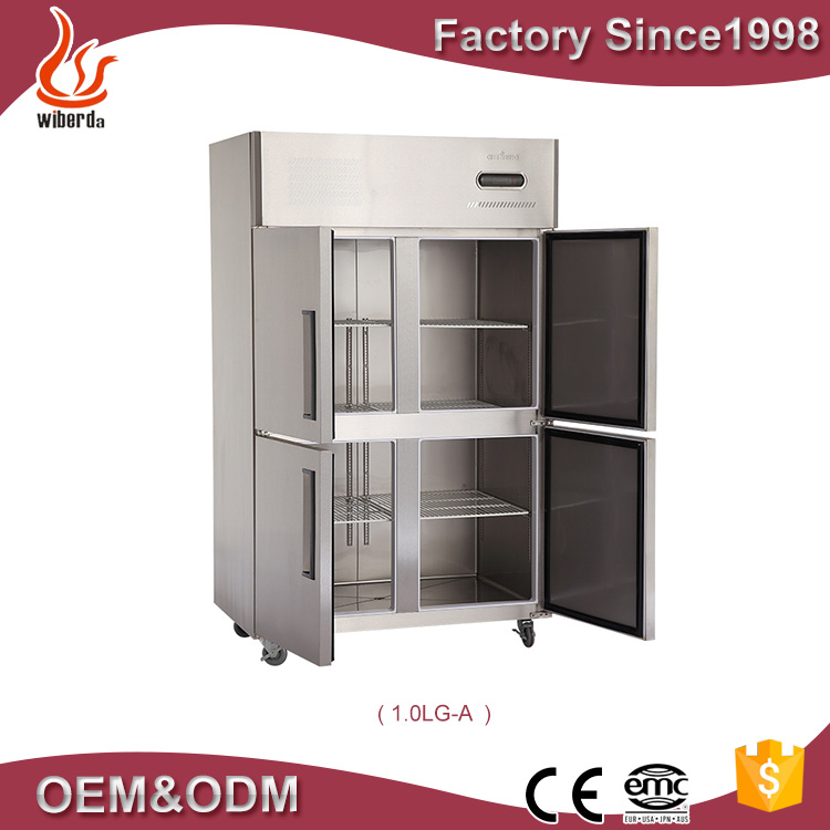 4 doors Commercial refrigerator and kitchen refrigeration equipment for commercial stainless steel fridge