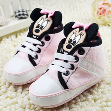 Baby girls boy shoes high cute mickey shoes baby prewalker shoes first walkers infant casual shoes