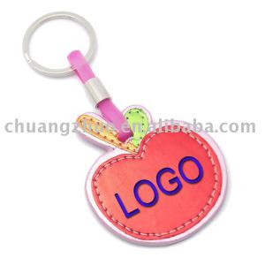 Fashion Red plain Leather Shaped Apple logo keychain