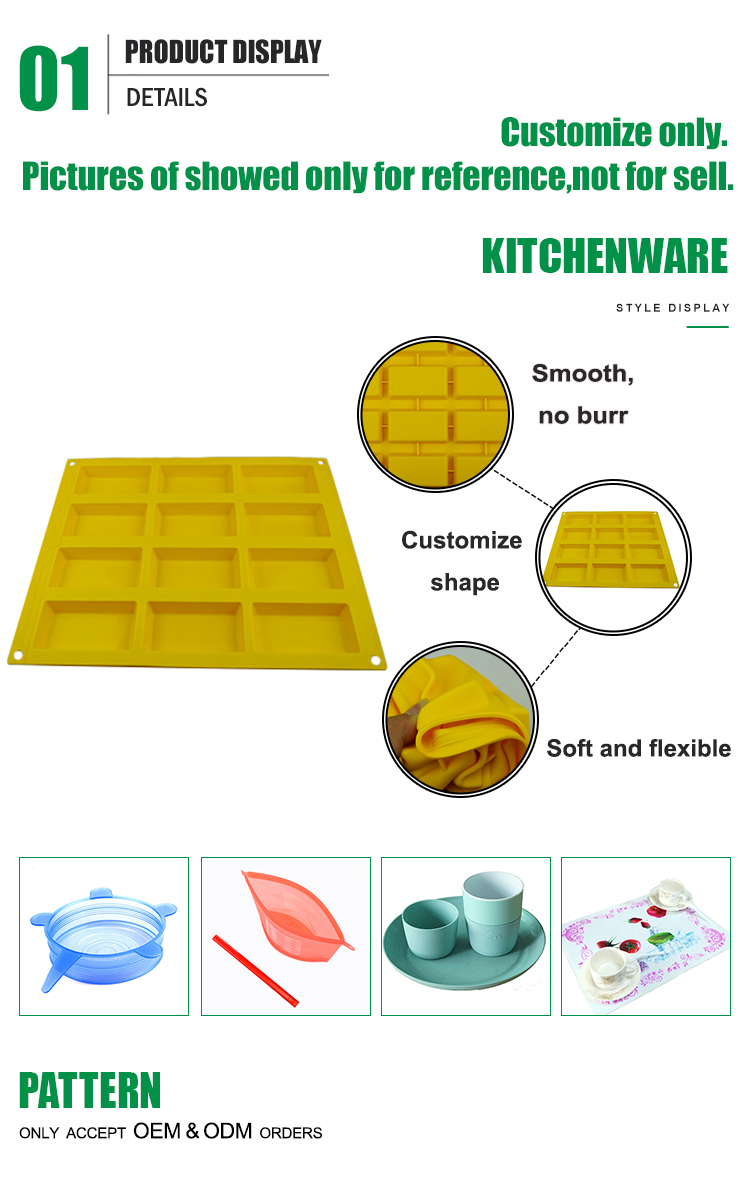 Custom any shape non-stick 12 Cavity silicone chocolate jelly candy  molds
