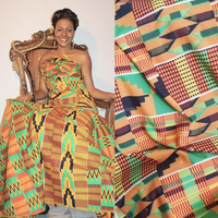 Queency Wholesale African Print Polyester Lycra Nylon Cloth Cotton Rayon Spandex Fabric