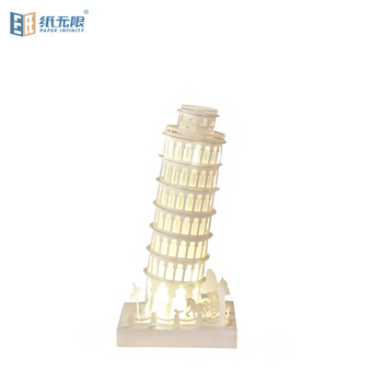 Top quantity new product craft gift DIY 3D Leaning Tower of Pisa paper-cut paper lamp