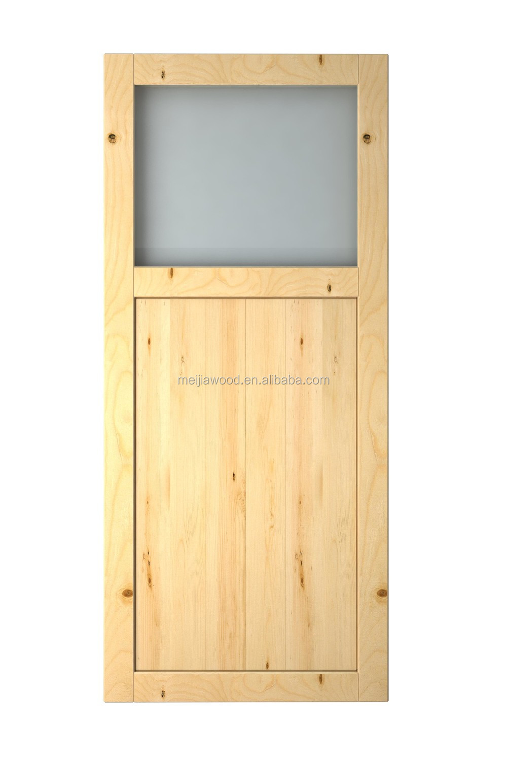 Craftsman Knotty Alder 2 Panel 1 Lite Solid Core With Clear tempered glass Barn Door Slab