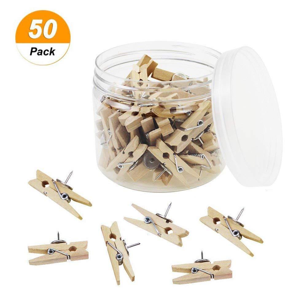 Darmal 50 Pcs Push Pins with Wooden Clips, Tacks Thumbtacks Pushpins, Paper Clips for Cork Board, Photo Wall Craft, Projects, Notes, Artworks (Natural Color)
