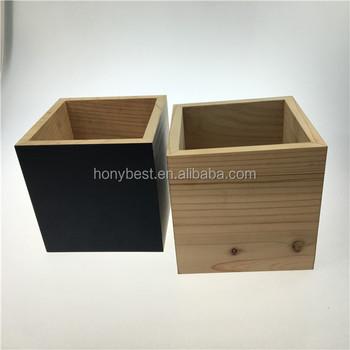 No Lid Small Square Cedar Wood Craft Storage Box With Custom Two Sides Chalkboard