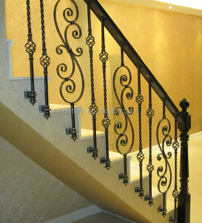 decorative wrought iron indoor stair handrials/staircase railing