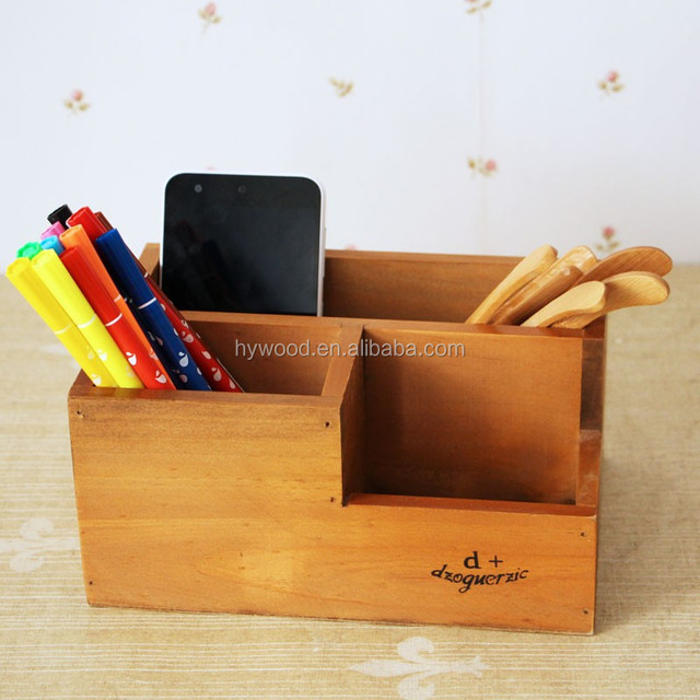 Office Desk Pen Holder Wooden Box With Customized Logo