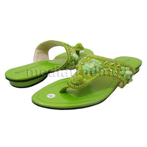 9e82f550329f06 Lime Green Sequin Flower~women s Dress Sandal - Buy Beaded ...