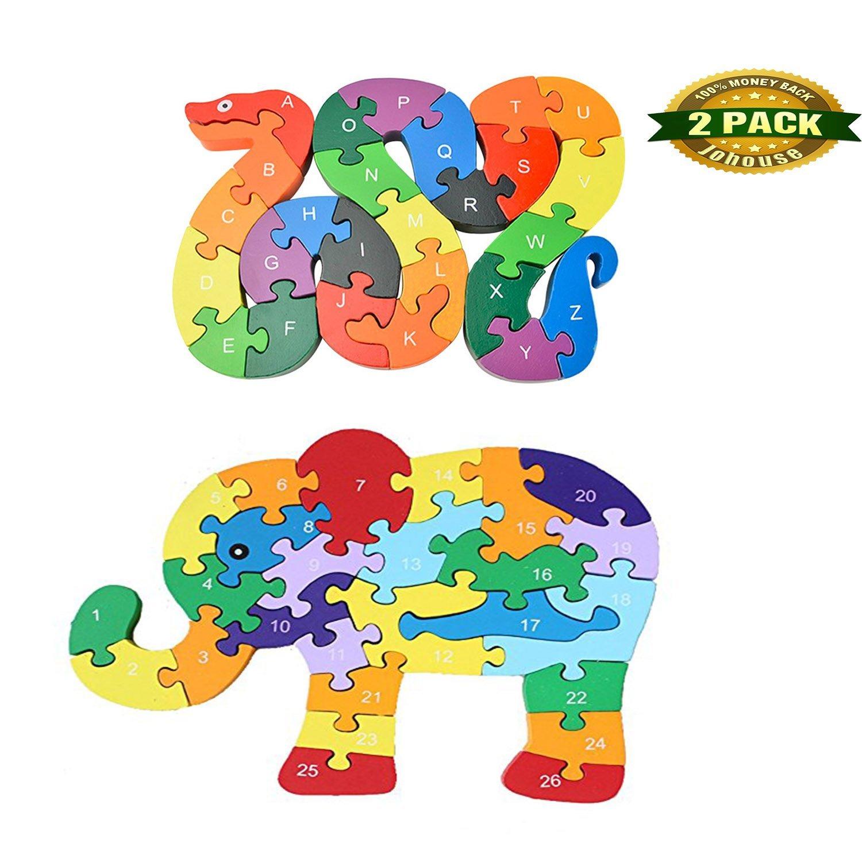 Johouse Blocks Jigsaw Puzzles, Wooden Alphabet Jigsaw Puzzle Wooden Building Blocks Animal Wooden Puzzle for Children's Puzzles Toys - Snake & Elephant