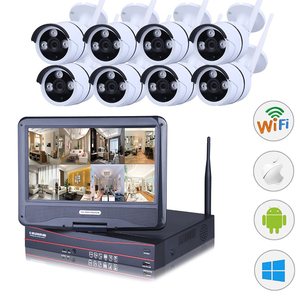 Factory supply wifi cctv outdoor camera and recorder 8 channel wireless 1080p hd ip cctv security camera system