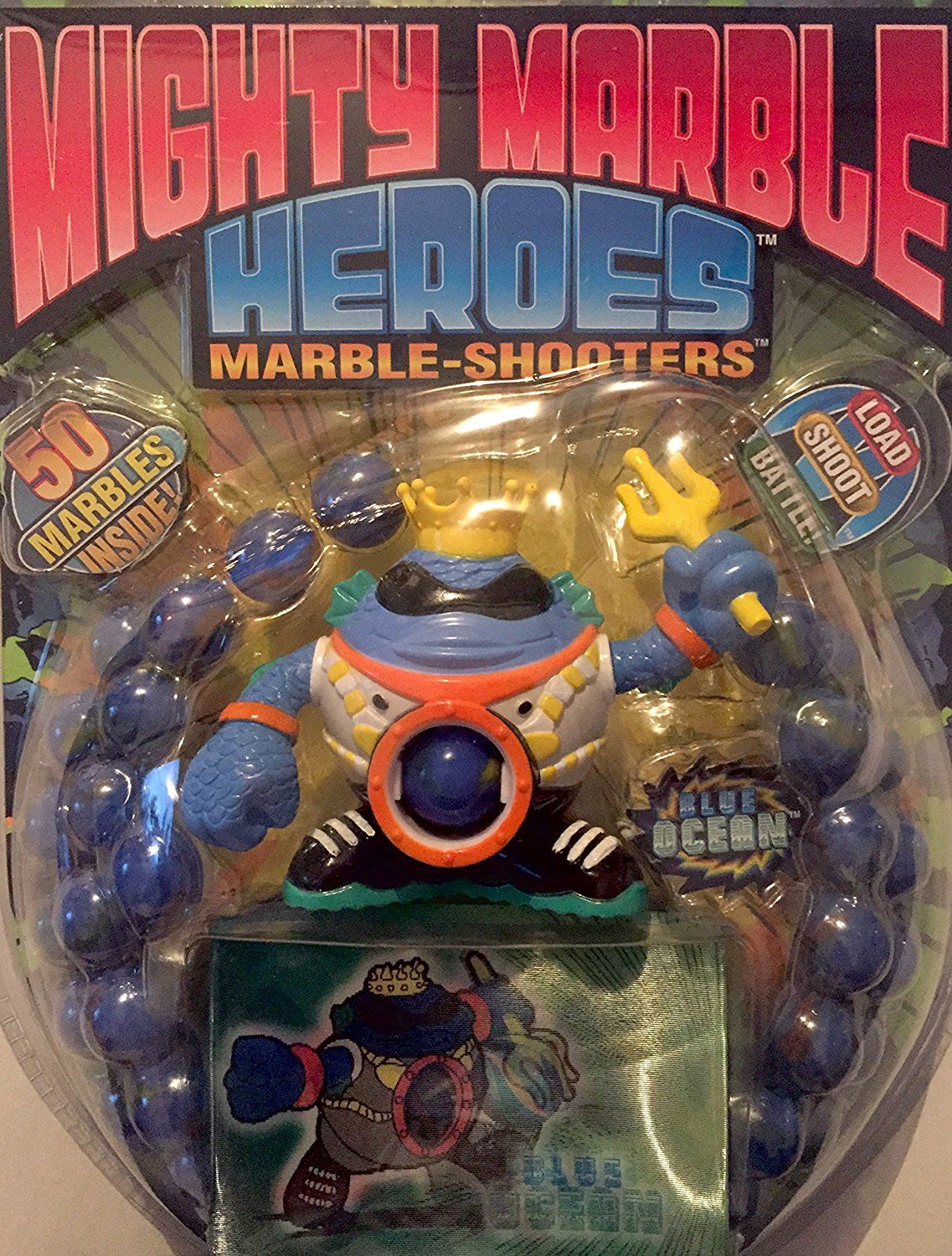 Imperial Toy Mighty Marble Heroes Set #12846 Blue Ocean Shooter w/ 50 Marbles