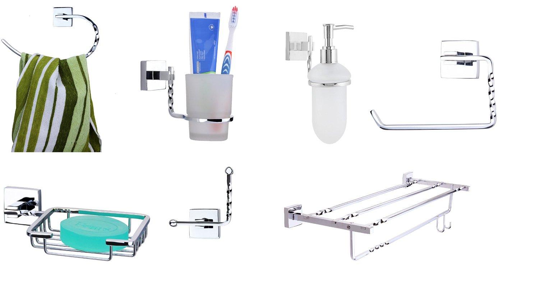 KRM Topaz Towel Ring + Soap Dish+ Tumbler Holder+ Robe Hook+ Toilet Paper Holder+ Towel Rack+ Soap Dispenser- Pure Brass