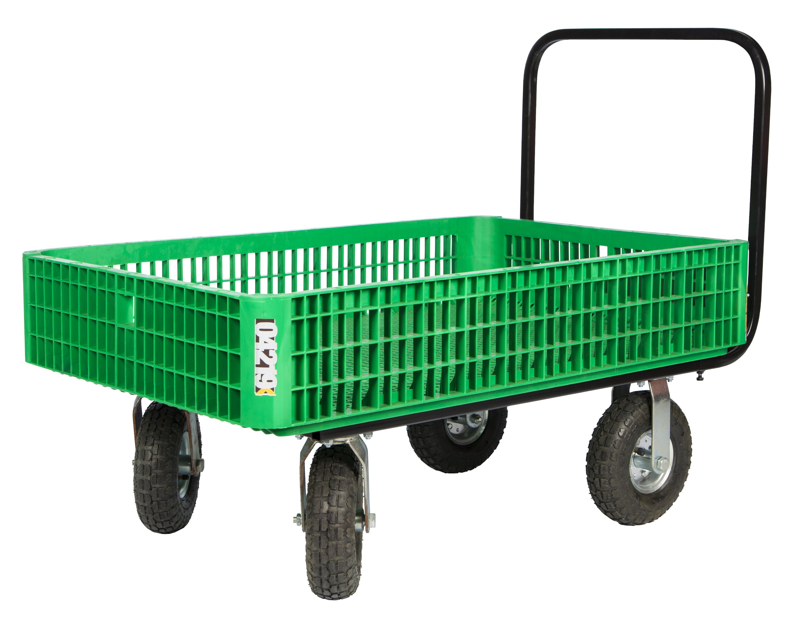 Farm Tuff 30-Inch by 46-Inch Crate Wagon with 4-Inch by 10-Inch Tires, Green or Grey