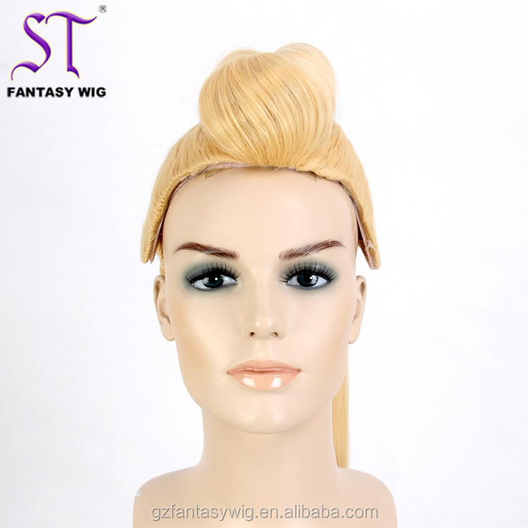 Chinese Suppliers Wholesale High Ponytail Wig Yellow Synthetic Hair Custom Wig Mannequin Heads