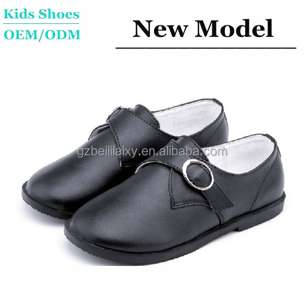 J-SC0026 Best Sale Classical Black Kids Shoes Leather or Microfibre Material School Shoes for Boys