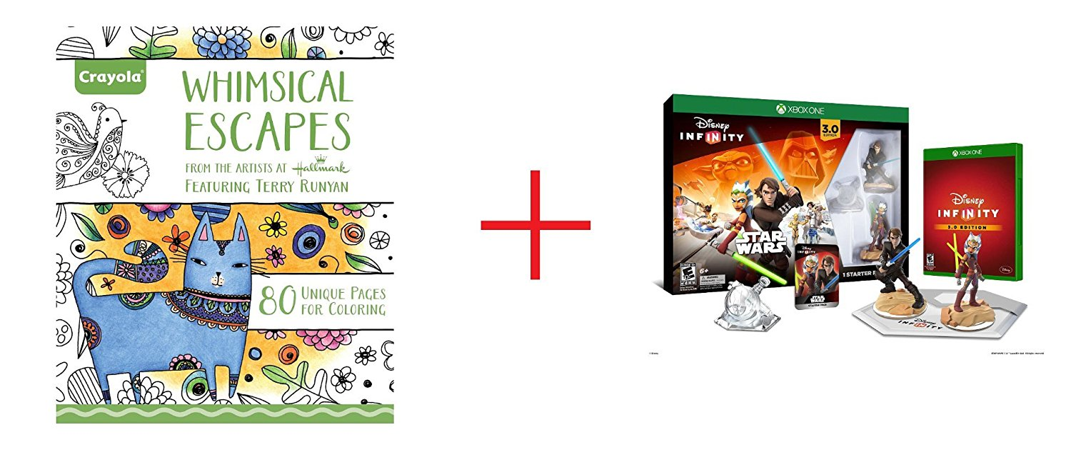Crayola Adult Coloring Book - Whimsical Escapes and Disney Infinity 3.0 Edition Starter Pack for Xbox One - Bundle