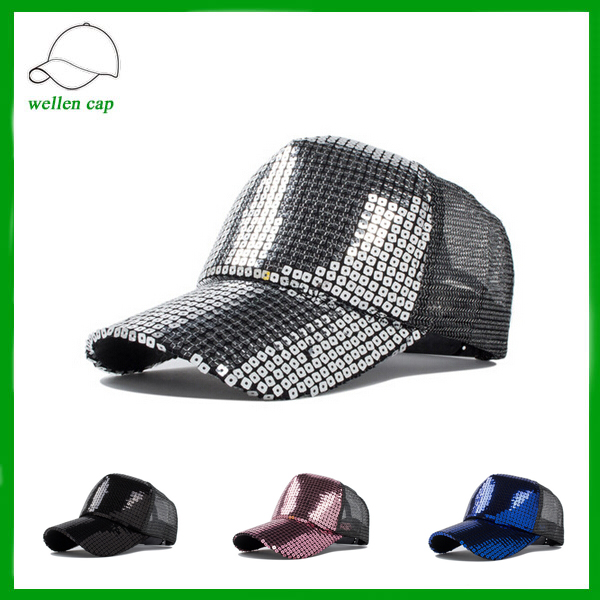 Fashional sample free glitter sparkle sequins mesh trucker cap for whlesale