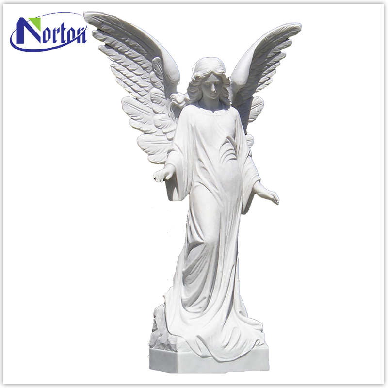 Modern popular white marble angel statue NTBA-308L