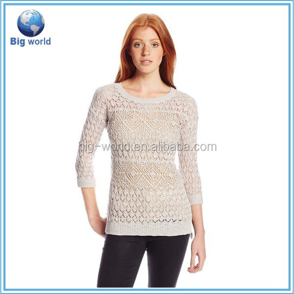 2015 sweater Big world Round Neck 3/4 sleeve Women's Mix Yarn Pullover knit jumpers