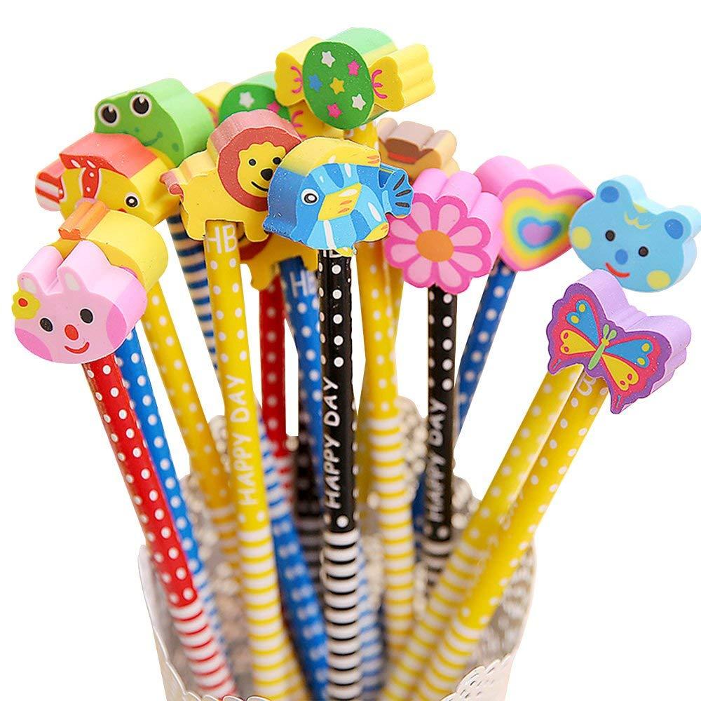 Zhi Jin 12Pcs Cute Cartoon Animal Wood HB Pencil Sets With Eraser For School Supplies Children Gift