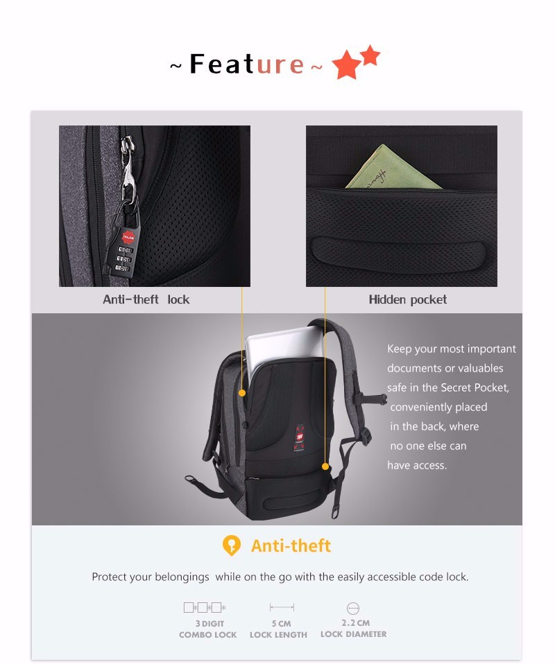 2018 New Arrival Tigernu New 10W Solar Powered & Anti-Theft Backpack with Solar Panel Bag Men and Women Laptop Bag