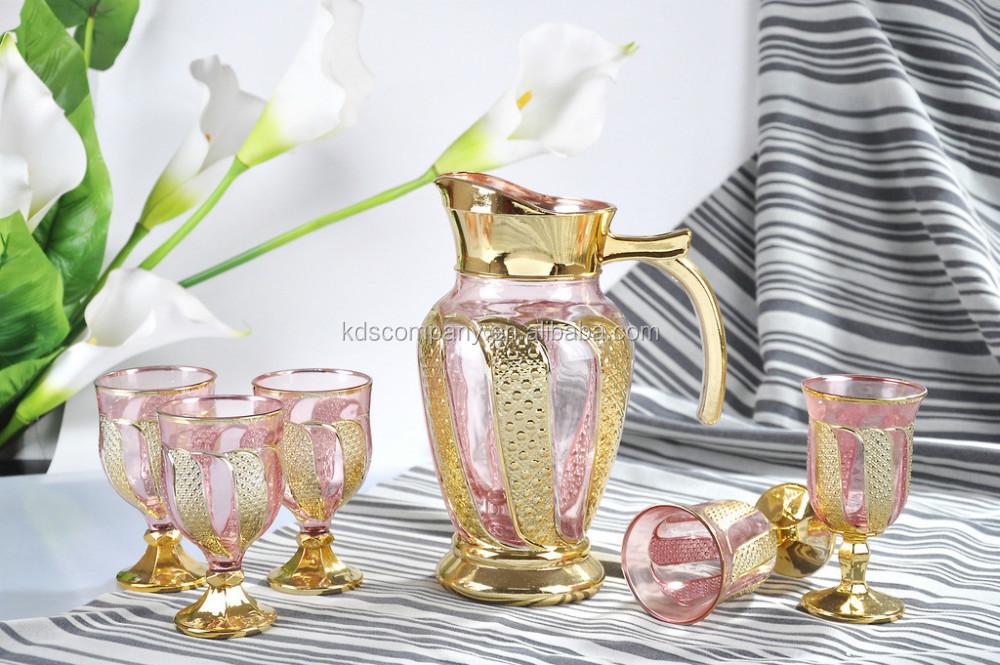 Gold Glass Drinking Water Jug Juice Set