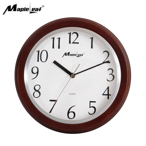 12 Inch Home Decoration Modern Simple Natural Wood Quartz Wall Clock with Glass Cover