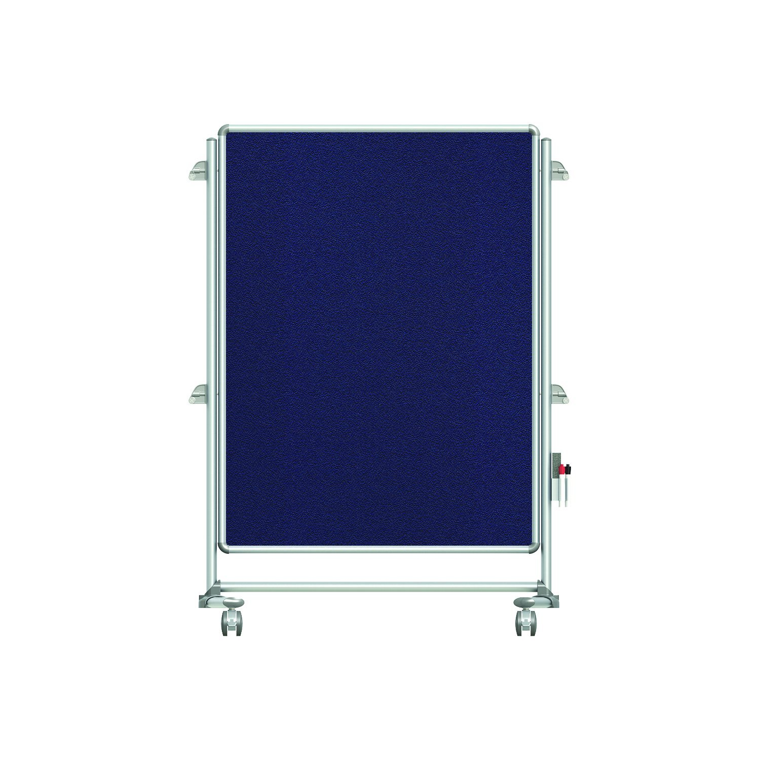 "Ghent 57-3/8"" x 40-3/8"" Nexus Jr. Partition Mobile Fabric Bulletin Board, Double-Sided, Blue (NEX223FFP-93)"