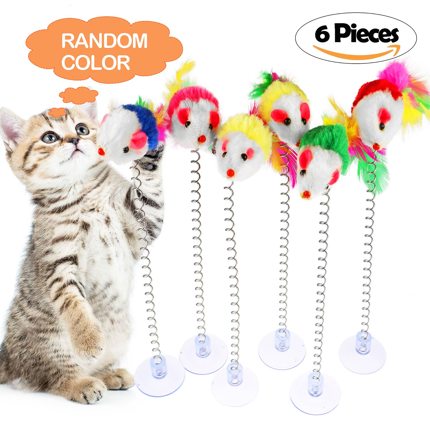 Tacobear Retractable Cat Toys Interactive Feather Teaser Wand Toy Fluffy Mouse Balls Catnip for Cats Kitten