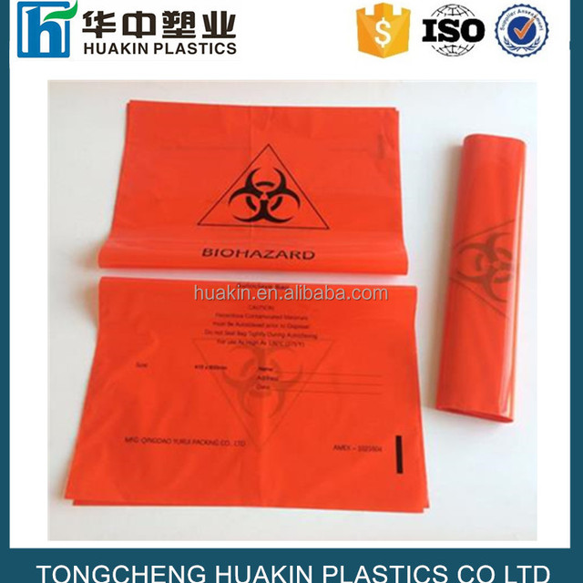 yellow LDPE red clear plastic clinical biohazard waste bags