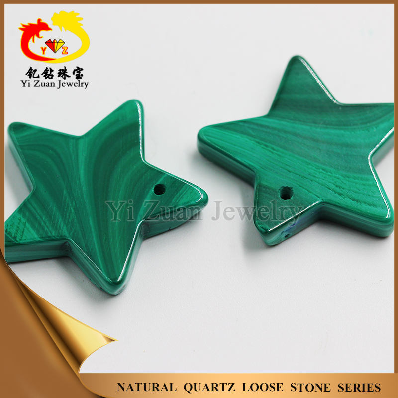 Hot sale natural smooth surface star shape loose malachite gemstone