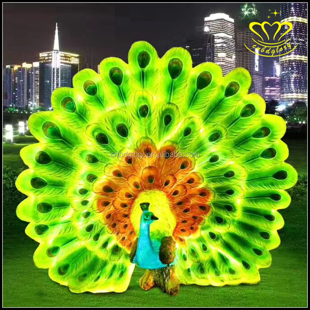 Outdoor Christmas decorate fiberglass resin Life Size animal peacock Lights Sculptures