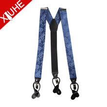 Custom Genuine Leather Blue Paisley Silk suspender men