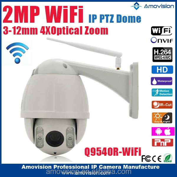 2015 Amovision Q9540R <strong>wifi</strong> H.264 onvif 1080P CMOS IR 30m 4X Zoom high speed dome outdoor PTZ ip camera