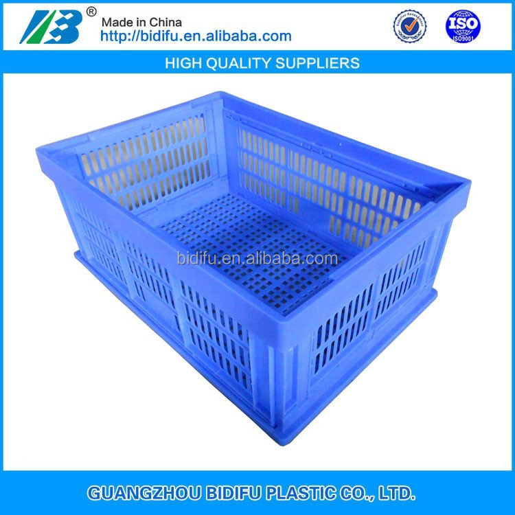 mesh fold up plastic crate food plastic folding basket for fruit and vegetable