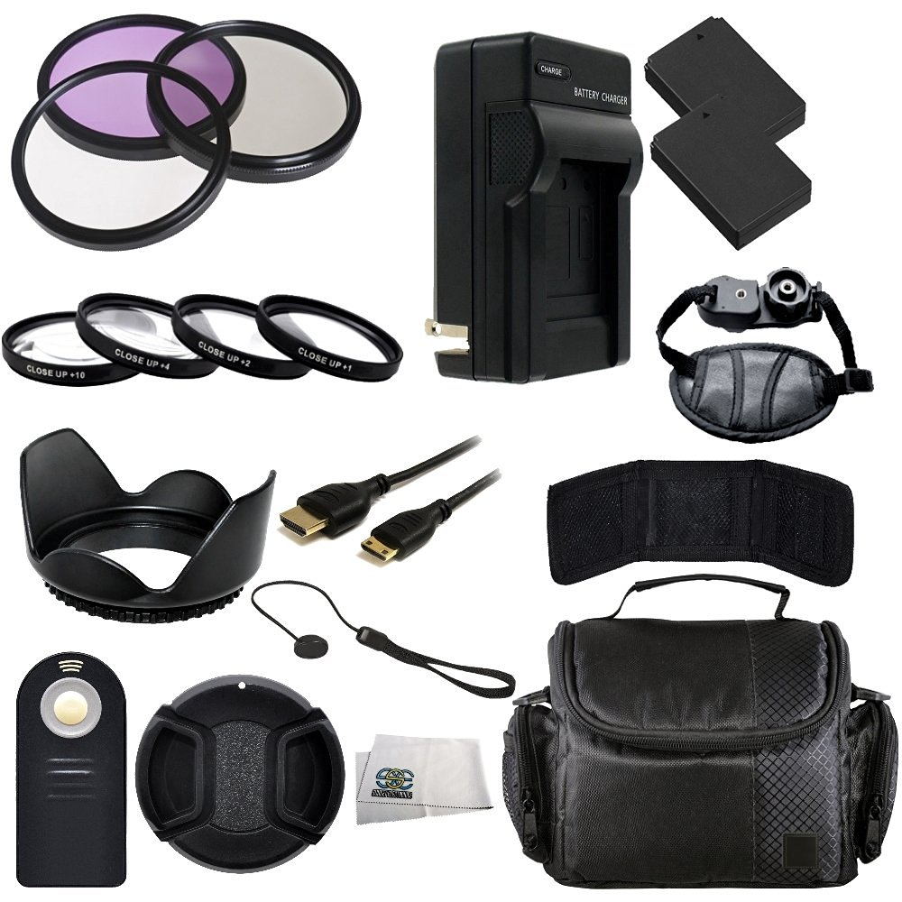 58MM Accessory Kit for Canon T2i, T3i, T4i, T5i Includes 3 Piece Filter Kit (UV-CPL-FLD) + 4 Piece Macro Filter Kit (+1,+2,+4,+10) + 2 Extended Life Replacement Batteries (LP-E8) + AC/DC Rapid Home & Travel Charger + Mini HDMI Cable + Carrying Case + Wireless Remote + Hand Strap + Lens Hood + Lens
